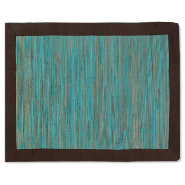 Teal Brown Waterlily Placemat, Set of 4