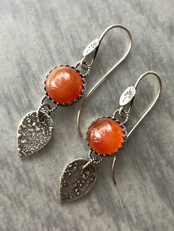 Carnelian Earrings with Lightly Reticulated Silver Dangles