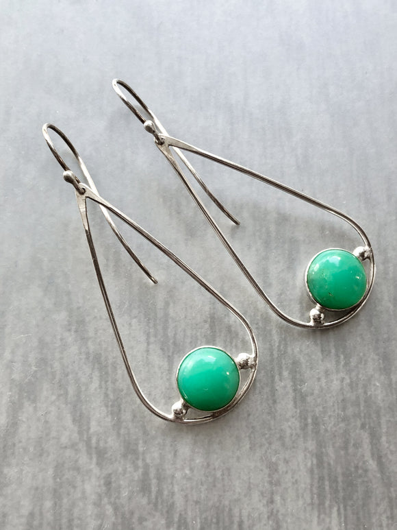 Chrysoprase Teardrop Dangle Earrings