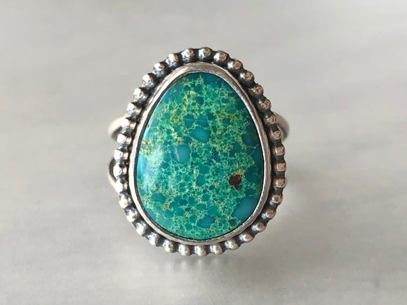 Green Turquoise Statement Ring on Split Band