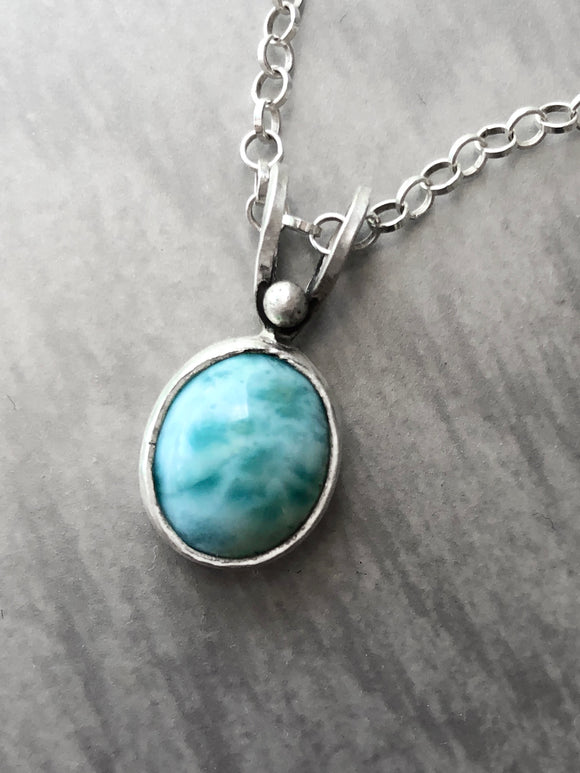 Larimar Necklace with Hidden Leaf Pattern