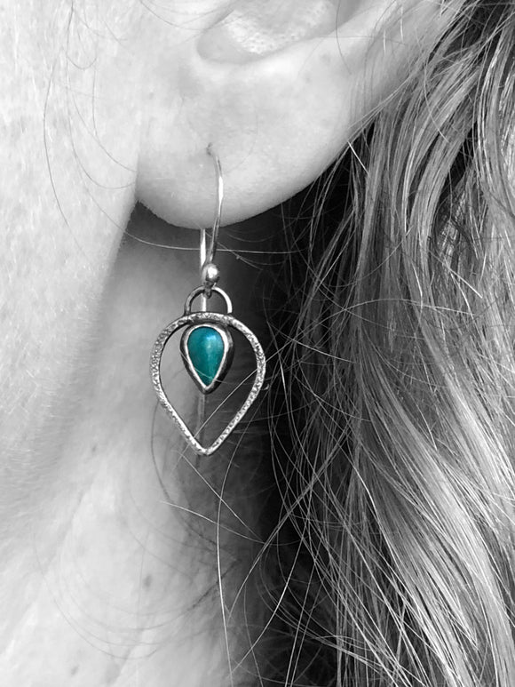 Dainty Textured Turquoise Teardrop Earrings