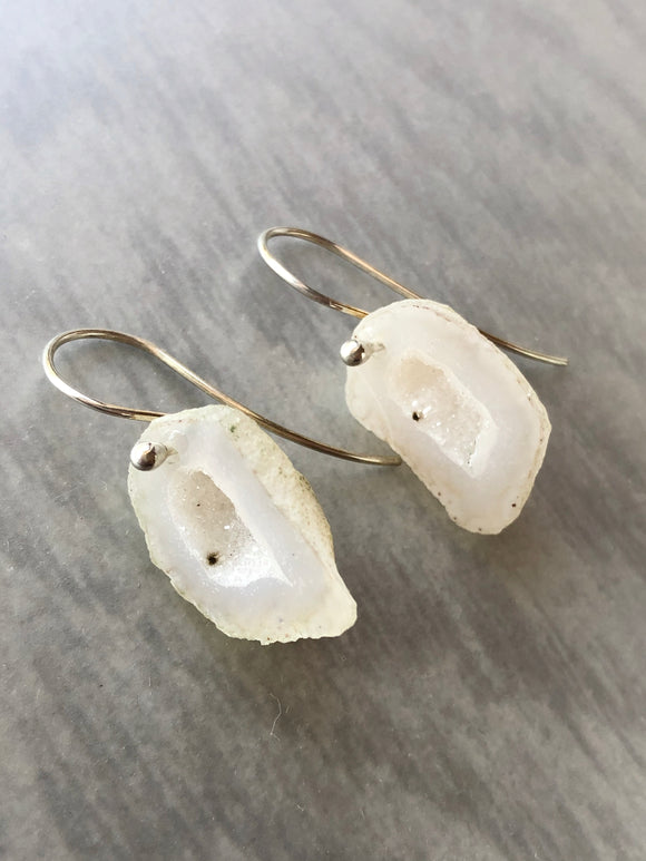White Tabasco Geode Earrings