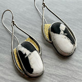 White Buffalo Earrings with Fused Gold