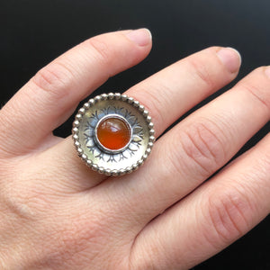 Carnelian Cocktail Ring with Shadowbox Setting