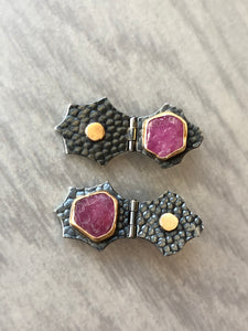 Hinged Post Earrings with Raw Ruby and Gold