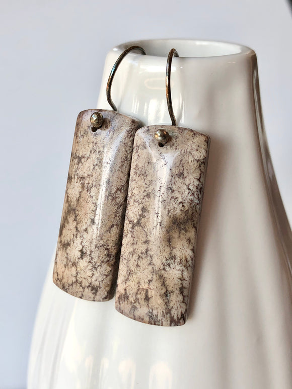 Fossil Coral Stone Slice Earrings