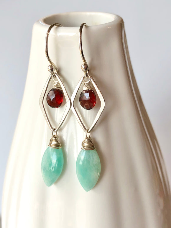 Amazonite and Garnet Hammered Link Earrings