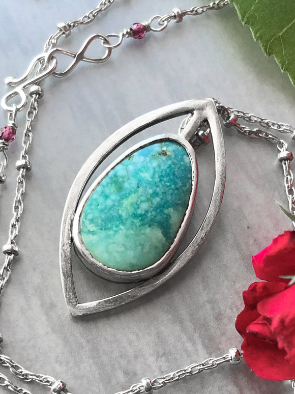 Leaf Frame Necklace with Turquoise