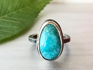 Turquoise Ring on Patterned Square Band