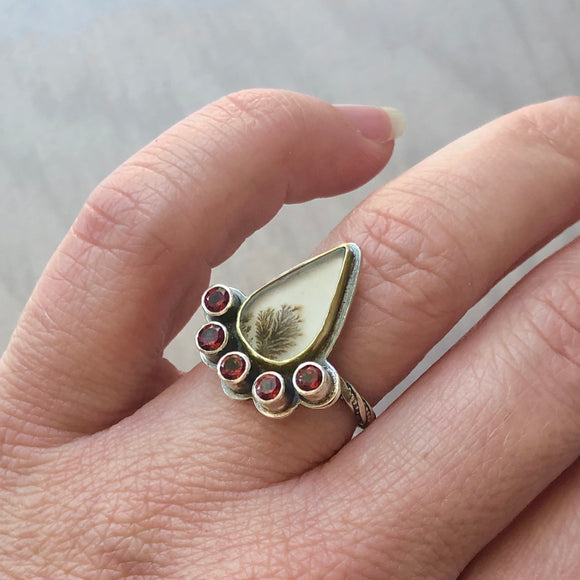 Dendric Agate Ring with Faceted Garnets and 18k Gold Bezel