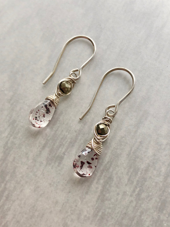 Lepidocrocite and Pyrite Herringbone Woven Earrings