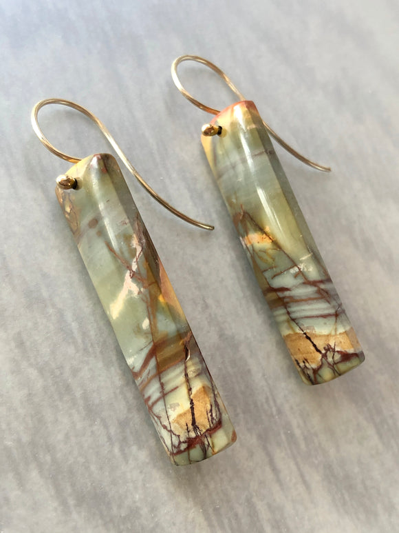 Red Creek Jasper Stone Slice Earrings