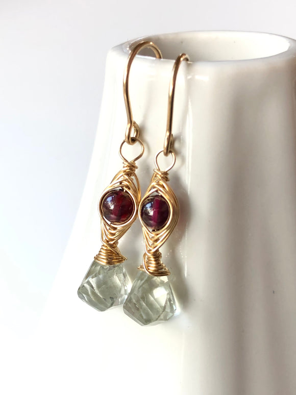 Garnet and Green Amethyst Herringbone Woven Earrings