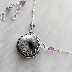 Dendritic Opal Necklace with Amethyst and Hidden Butterfly