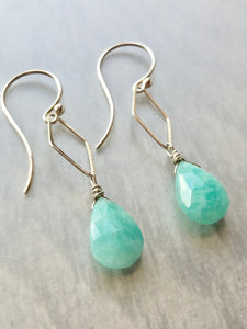 Amazonite Hammered Link Earrings