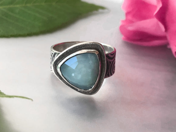 Aquamarine Trillion Ring with Wide Spiral Band