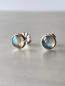Labradorite and Sterling Silver Stud Earrings