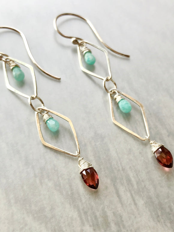 Amazonite and Garnet Long Hammered Link Earrings