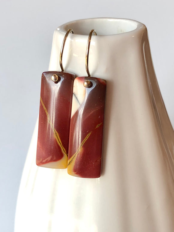 Mookaite Jasper Stone Slice Earrings