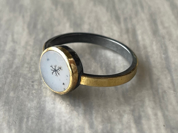 Dendritic Agate Ring with Sterling Silver and 18K Gold Bezel and Band