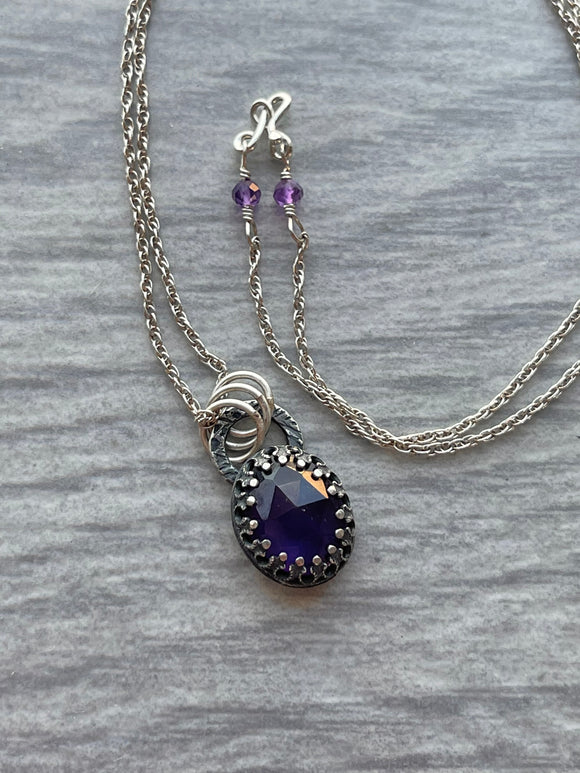 Amethyst Necklace with Butterfly on the Reverse