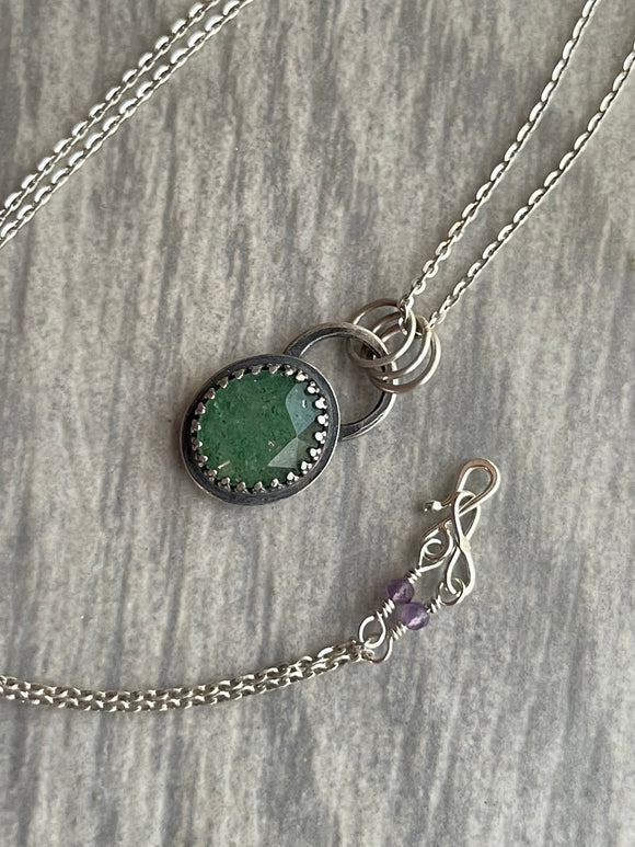 Green Tanzurine Necklace with Amethyst and Hidden Heart Leaf on the Reverse