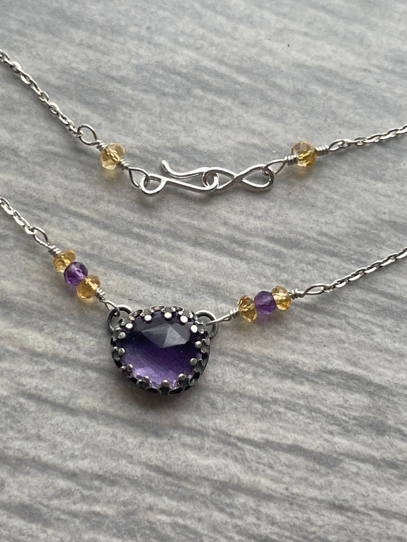 Amethyst Choker Necklace with Citrine and Hidden Flame on the Reverse