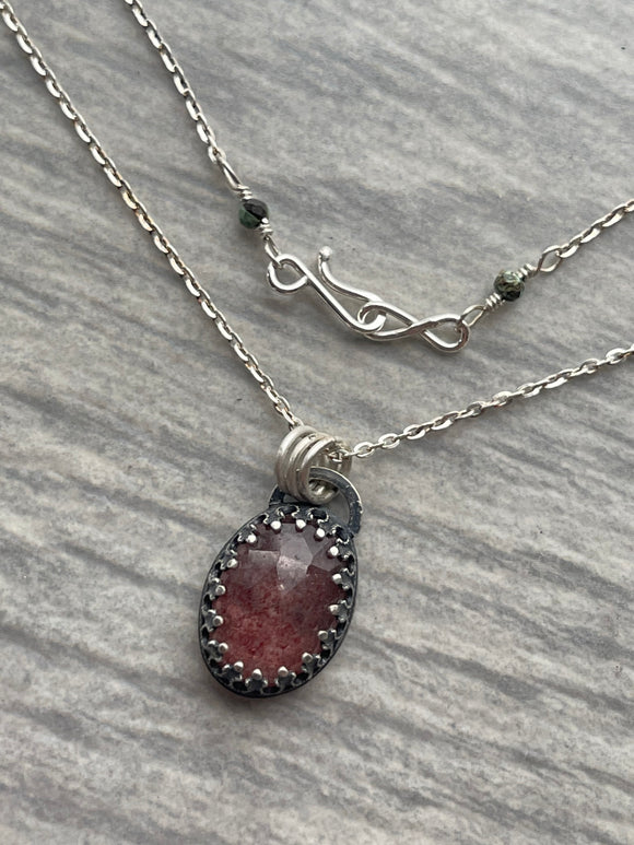 Strawberry Quartz Necklace with Lotus on the Reverse