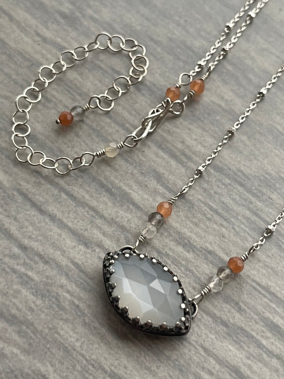 White Moonstone Choker Necklace with Peach Moonstone and Hidden Dove on the Reverse