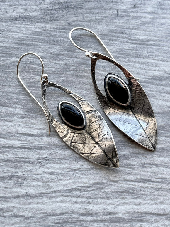 Onyx Leaf Earrings with Elm Leaf Imprint