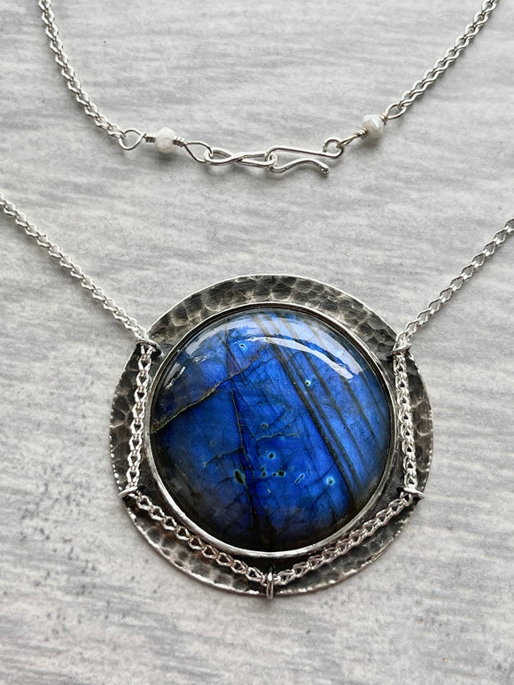 Blue Labradorite Necklace with Water Lilies