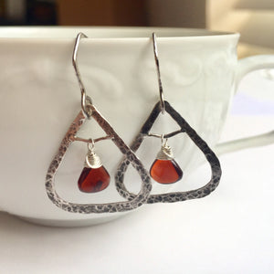 Garnet Triangle Earrings with Hammered Silver Frame