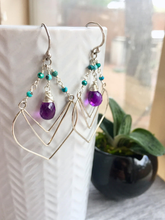 Amethyst and Turquoise Chevron Chandelier Earrings