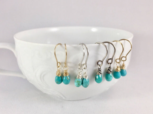 Natural Sleeping Beauty Turquoise Drop Earrings
