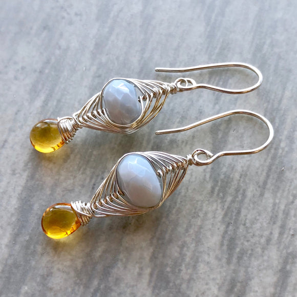 Peruvian Blue Opal and Citrine Herringbone Woven Earrings