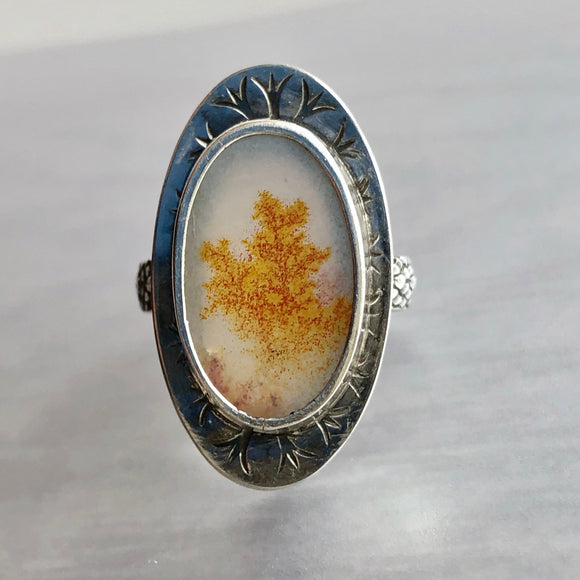 Scenic Dendric Agate Statement Ring with Yellow Treelike Dendrites