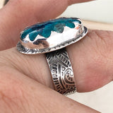 Shattuckite Ring with Wide Patterned Band and Scalloped Bezel