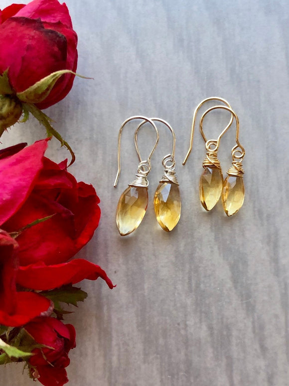 Citrine Marquise Drop Earrings