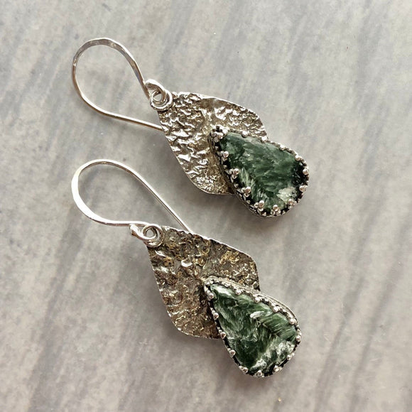Seraphinite Earrings with Reticulated Silver