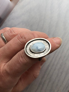 Blue Peruvian Opal Cocktail Ring with Tree Bark Patterned Frame