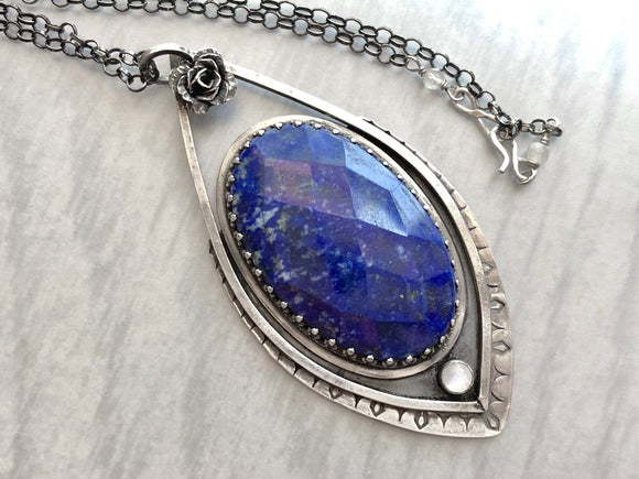 Lapis Lazuli Necklace with Moonstone and Silver Rose