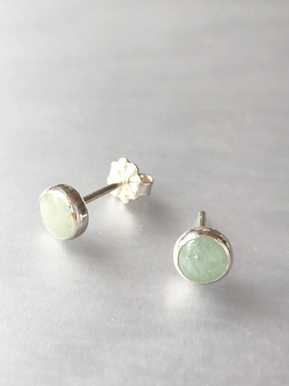 Aquamarine and Sterling Silver Stud Earrings