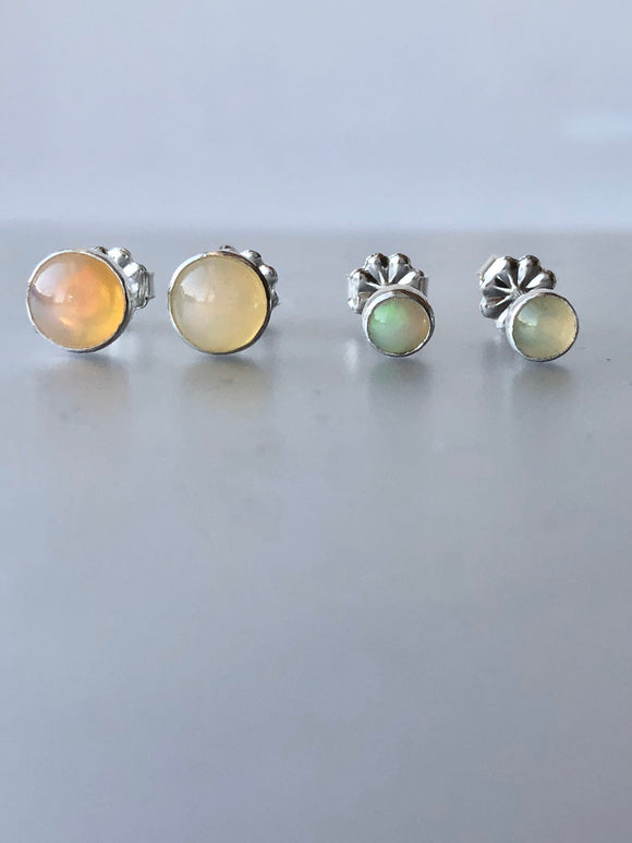 Ethiopian Opal and Sterling Silver Stud Earrings