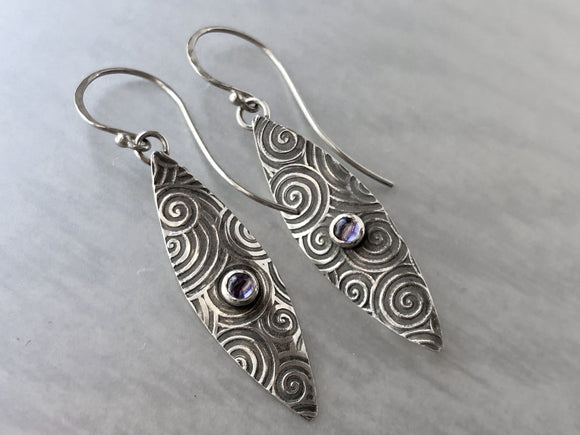 Iolite Dangle Earrings with Spiral Swirl Pattern