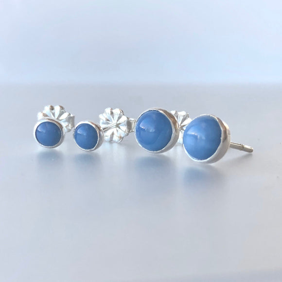 Peruvian Blue Opal and Sterling Silver Stud Earrings