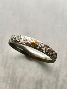 Elegant Sterling Silver Ring with 18k Gold Accent