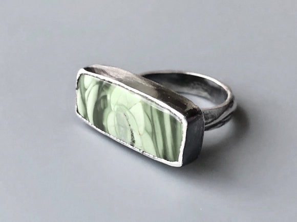 Rectangular Green Imperial Jasper Ring