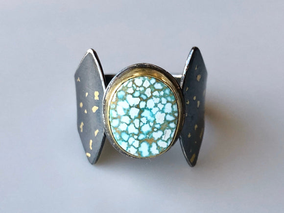 Mixed Metal Gold, Silver, and High-Grade #8 Turquoise Ring