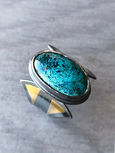 Shattuckite Ring with Art Deco Papyrus Flower Band and 24k Gold Keum-Boo Accents